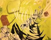 "Lady In Waiting, Zebra Stripes 56"" x 72"" Oil on Canvas"